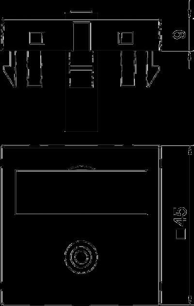 Схема Мультимедийная рамка с разъемом Mini-Klinken, ширина 1 модуль, с прямым выводом, для соединения пайкой — арт.: 6104946