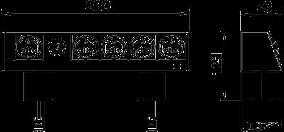 Схема Настольный бокс DB с крепежным зажимом, с соединенными розетками 1+4 — арт.: 6116948