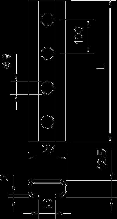 Схема Профильная рейка с шириной шлица 12 мм, неперфорированная — арт.: 1109022