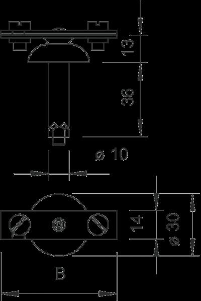 Схема Держатель для плоских проводников со стальным распорным дюбелем Ø 10 мм — арт.: 5028035
