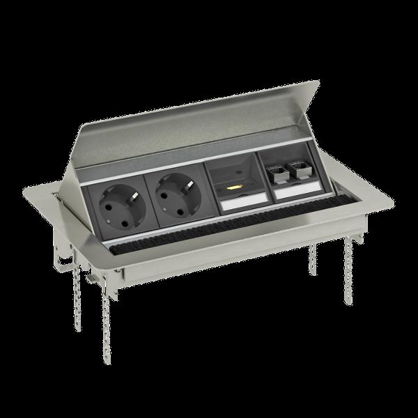 Настольный бокс DBK с крышкой, с 2 розетками, 1 разъемом HDMI и 2 разъемами RJ45 CAT6 — арт.: 6116889