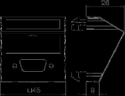 Схема Мультимедийная рамка с отверстием для штекерного разъема VGA/D-Sub9, ширина 1 модуль, с наклонным выводом — арт.: 6104718