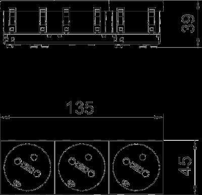 Схема Розетка 33° с заземляющим стержнем, тройная — арт.: 6120262