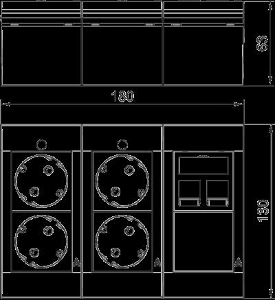Схема Система Modalnet, укомплектованная 2 двойными розетками с защитным контактом и 1 компьютерной розеткой — арт.: 6109916