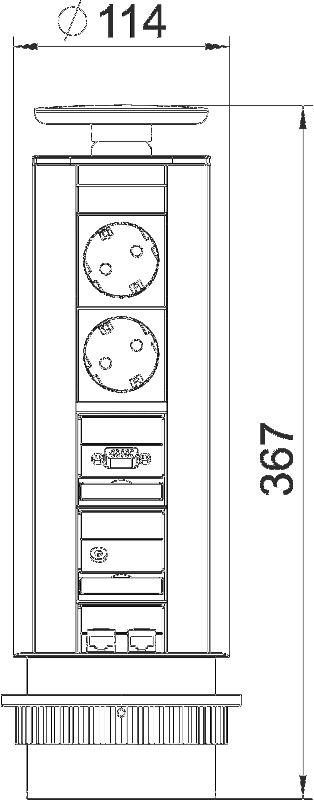 Схема Вертикальный настольный бокс DBV с 2 розетками, 1 разъемом VGA, 1 разъемом Miniklinke и 2 разъемами RJ45 CAT6 — арт.: 6116886