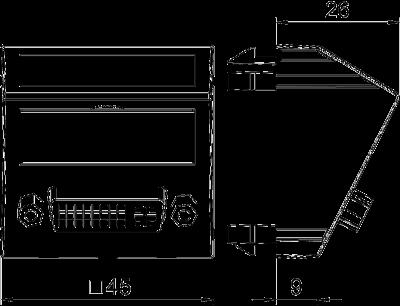 Схема Мультимедийная рамка с разъемом DVI-D, ширина 1 модуль, с наклонным выводом, для винтового соединения — арт.: 6104742