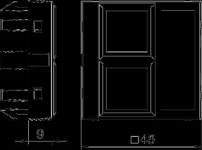 Схема Корпус компьютерной розетки, ширина 1 модуль, с прямым выводом, тип LE — арт.: 6119304
