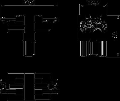 Схема Распределительный блок 3-полюсный, Т-образный — арт.: 6108084