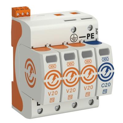 Разрядник для защиты от перенапряжений V20 3-полюсный + NPE, с дистанционной сигнализацией, 320 В — арт.: 5095343