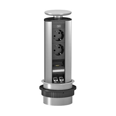 Вертикальный настольный бокс DBV с 2 розетками, 1 разъемом HDMI и 2 разъемами RJ45 CAT6 — арт.: 6116887