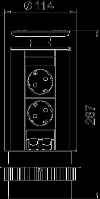 Схема Вертикальный настольный бокс DBV с 2 розетками и 2 разъемами RJ45 CAT6 — арт.: 6116870