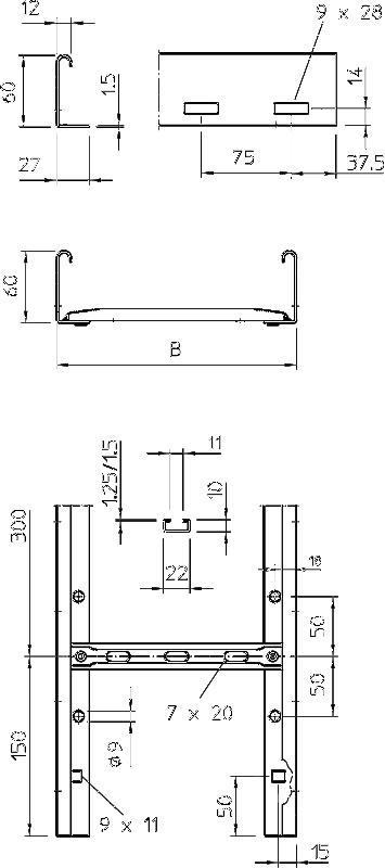 Схема Кабельный лоток LG 60 NS лестничного типа — арт.: 6208506