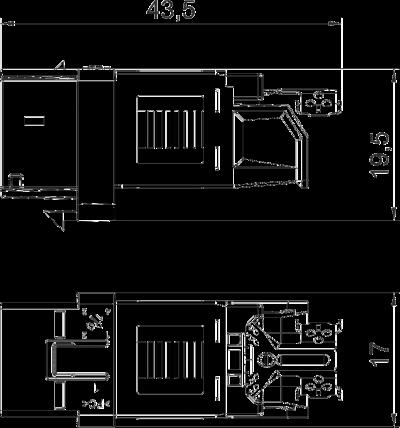 Схема Телекоммуникационный модуль RJ45, CAT. 6А (ISO), неэкранированный — арт.: 6117348