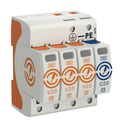 Разрядник для защиты от перенапряжений V20 3-полюсный, с дистанционной сигнализацией, 280 В — арт.: 5095263