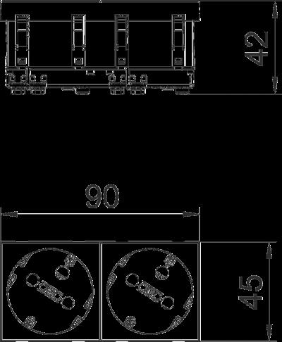 Схема Розетка 33° с защитным контактом, с кодом, двойная — арт.: 6120304