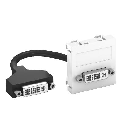 Мультимедийная рамка с разъемом DVI-D, ширина 1 модуль, с прямым выводом, с соединительным кабелем — арт.: 6104754