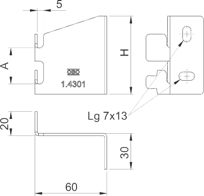 Схема Настенное крепление горизонтальное — арт.: 6016411