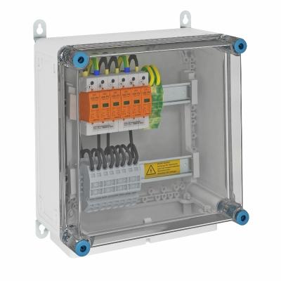 Системное решение для защиты преобразователей фотогальванических установок, в корпусе, с разрядниками типа 1+2, с 2 треккерами MPP, 900 В постоянного — арт.: 5088576