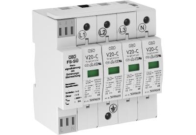 Разрядник для защиты от перенапряжений 4-полюсный, с сигнализацией о перегорании предохранителей — арт.: 5096278