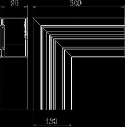 Схема Плоский угол для кабельного короба высотой 90 мм — арт.: 6276923