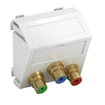 Мультимедийная рамка с 3 разъемами Component Video, ширина 1 модуль, с наклонным выводом, для соединения пайкой — арт.: 6105126