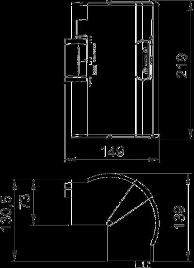 Схема Крышка внешнего угла, регулируемая, для кабельного короба высотой 70 мм — арт.: 6273910