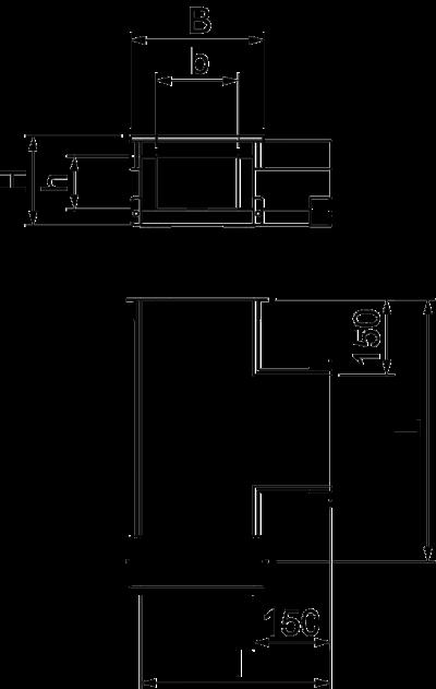 Схема Т-образная секция для кабельного канала с внутренней высотой 105 мм — арт.: 7215644
