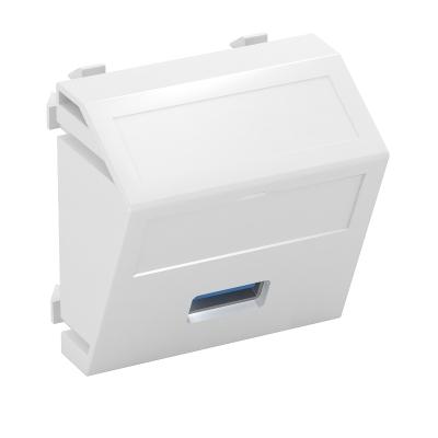 Мультимедийная рамка с разъемом USB 2.0 / 3.0, ширина 1 модуль, с наклонным выводом, для винтового соединения — арт.: 6104886