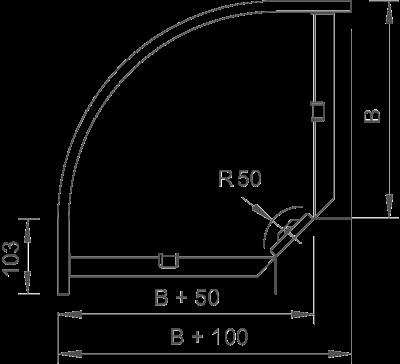 Схема Угловая секция 90° 50-300 мм — арт.: 6043216