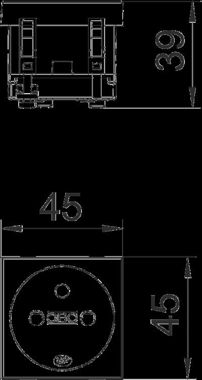 Схема Розетка 0° с заземляющим стержнем, одинарная — арт.: 6120152