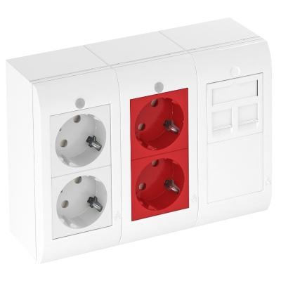 Система Modalnet, укомплектованная 2 двойными розетками с защитным контактом и 1 компьютерной розеткой — арт.: 6109916