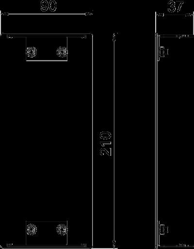 Схема Алюминиевая торцевая заглушка для кабельного короба высотой 90 мм — арт.: 6276973