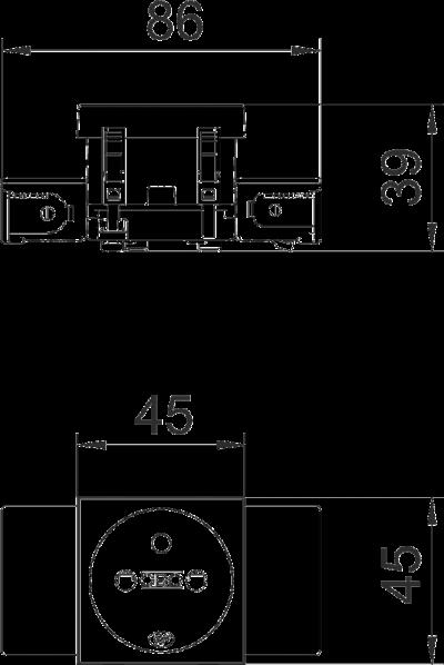 Схема Розетка 0° Connect 45 с заземляющим стержнем, одинарная — арт.: 6120532
