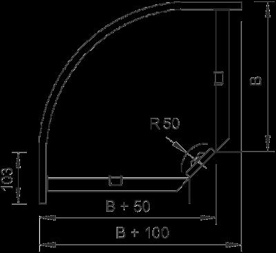 Схема Угловая секция 90° 100-300 мм — арт.: 7001762