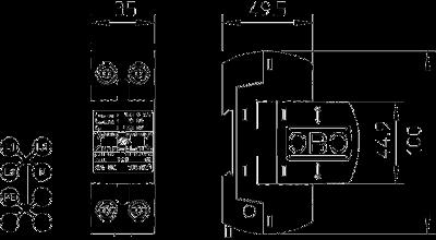 Схема Молниезащитный разрядник 1-полюсный, с индикацией функций — арт.: 5096851
