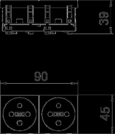 Схема Розетка 0° с заземляющим стержнем, с кодом, двойная — арт.: 6120314