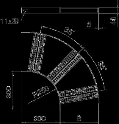 Схема Угловая секция 90° с Z-образными перекладинами — арт.: 7099000
