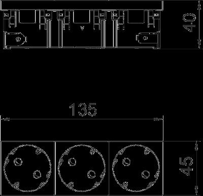 Схема Розетка 33° Connect 45 с защитным контактом, тройная — арт.: 6120502