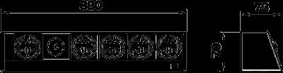 Схема Настольный бокс DB без крепления, с соединенными розетками 1+4 — арт.: 6116951