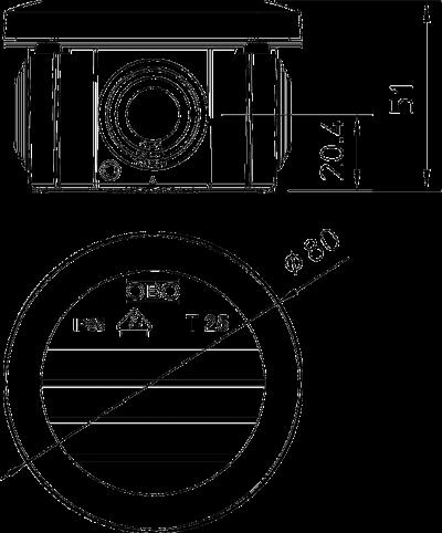 Схема Распределительная коробка Т-25 со вставным уплотнителем, трудновоспламеняемая — арт.: 2007312