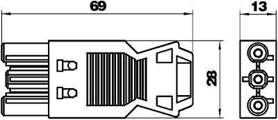 Схема Гнездовой адаптер 3-полюсный, с винтовым соединением — арт.: 6108056