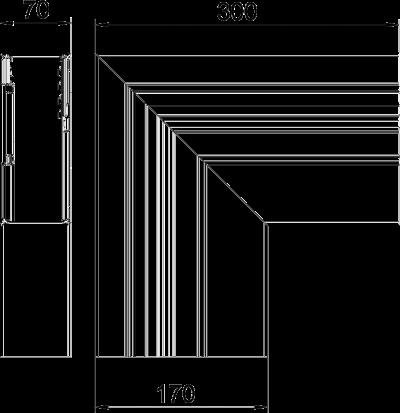 Схема Плоский угол нисходящий, для кабельного короба высотой 70 мм — арт.: 6279433