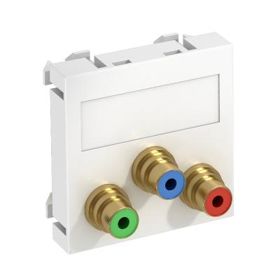 Мультимедийная рамка с 3 разъемами Component Video, ширина 1 модуль, с прямым выводом, для соединения пайкой — арт.: 6105114