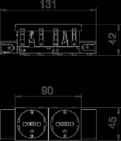 Схема Розетка 0° Connect 45 с защитным контактом, двойная — арт.: 6120362