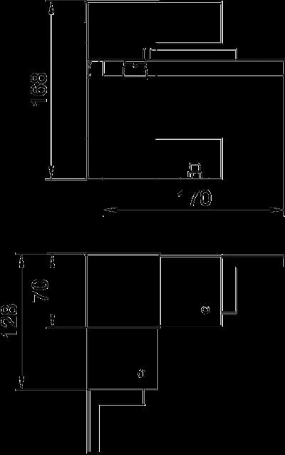 Схема Крышка внутреннего угла, упрощенная, для кабельного короба высотой 70 мм — арт.: 6278240