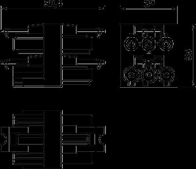 Схема Распределительный блок 3-полюсный, 1Е/3А — арт.: 6108080
