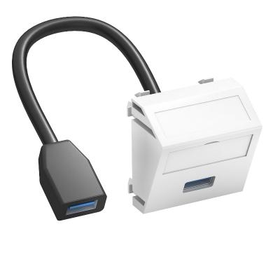 Мультимедийная рамка с разъемом USB 2.0 / 3.0, ширина 1 модуль, с наклонным выводом, с соединительным кабелем — арт.: 6104934
