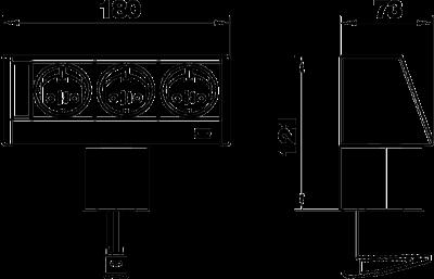 Схема Настольный бокс DB с крепежным зажимом, с 3 розетками — арт.: 6116936
