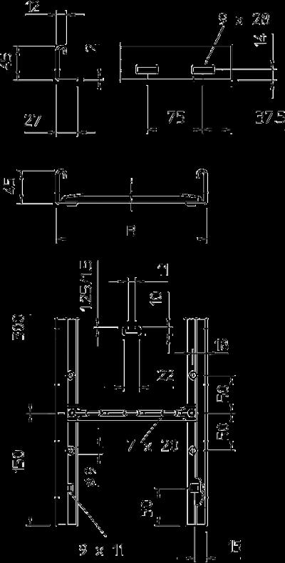 Схема Кабельный лоток SLG 45 лестничного типа — арт.: 6200540