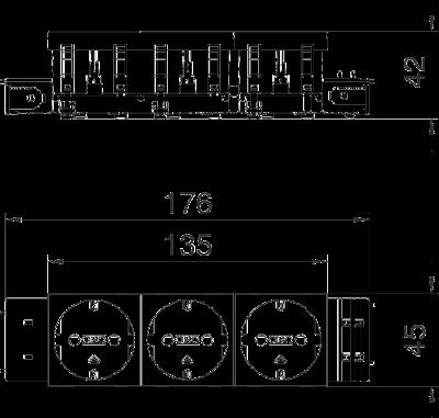 Схема Розетка 0° Connect 45 с защитным контактом, тройная — арт.: 6120382